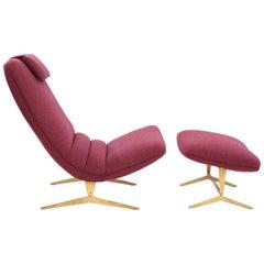 Stunning Italian Lounge Chair and Ottoman
