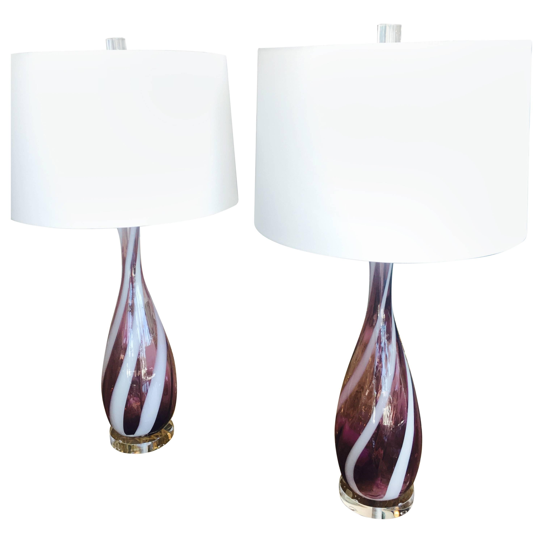 Pair Amethyst Purple Murano Vintage Glass Italian Table Lamps Lucite Chrome