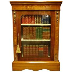 Victorian Walnut and Marquetry Inlaid Pier Cabinet Bookcase .1870