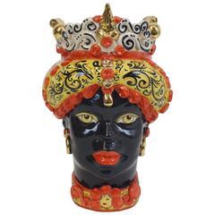 Flowerpot of Glazed Ceramics Hand-Painted