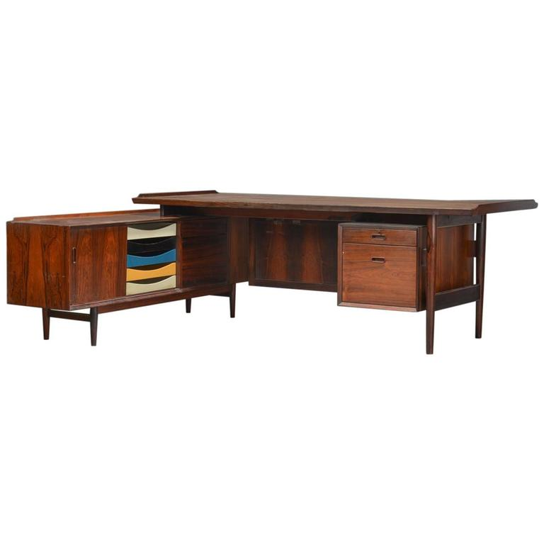 Arne Vodder Rosewood Desk and Sideboard Made by Sibast, circa 1960