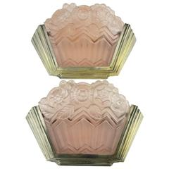 Art Deco Noverdy Wall Sconces with Pink Molded Glass
