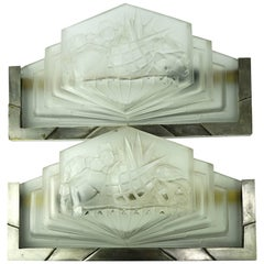Art Deco Muller Freres Wall Sconces with Molded Glass
