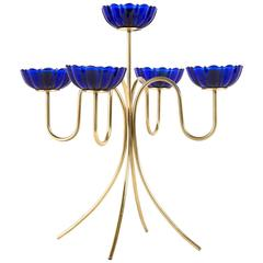 GUNNAR ANDER CANDLE HOLDER for Ystad Metall with brass and artglas in blue