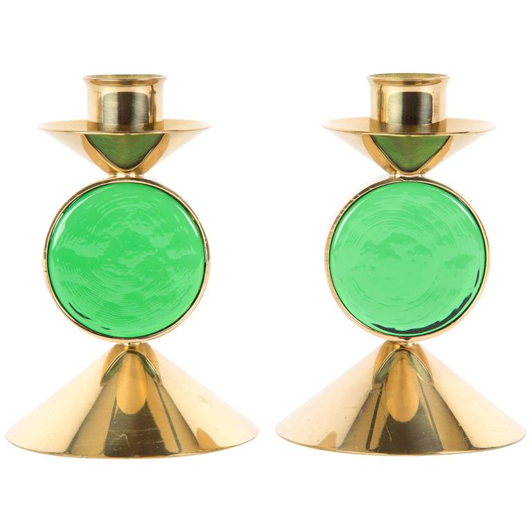 Set of GREEN GUNNAR ANDER candle holders for Ystad-Metall  in Brass For Sale
