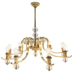 Mid-Century modern Fontana Arte style Brass and Glass Chandelier
