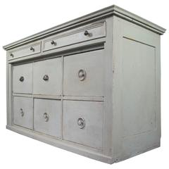 French Antique Painted Pine Chest of Drawers/Bank of Drawers Zinc Top