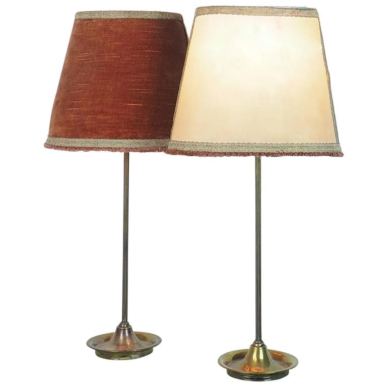 Pair of Large Table Lamps Brass with Bifronte lampshades by Chiarini Milano 1950 For Sale