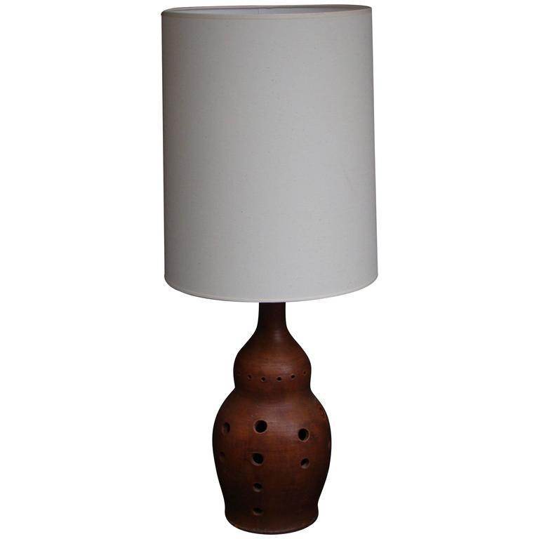 1950s, Table Lamp In Terra Cotta For Sale