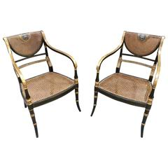 Pair Regency Ebonised Carver Chairs