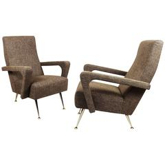 1950´s Pair of Armchairs, polished aluminium, brass feet, linen - Italy