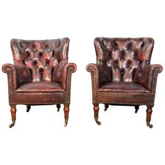 19th Century Pair of Tufted Leather Club Library Chairs