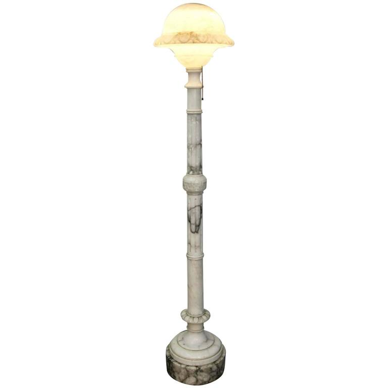 Antique carved alabaster floor lamp torchiere with greek for Alabaster torchiere floor lamp