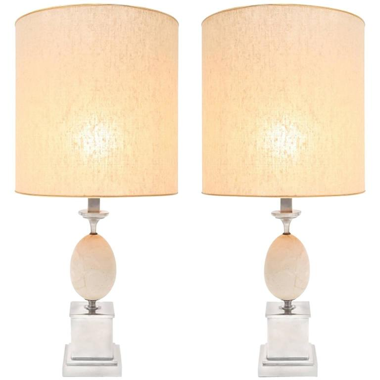 Pair of travertine Table Lamps Maison Barbier