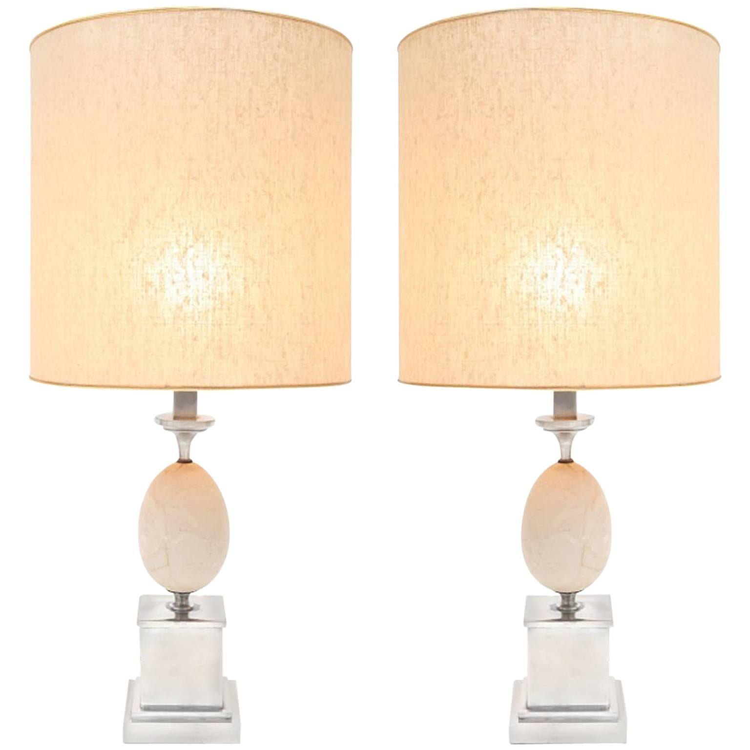Travertine & chrome pair of lamps, France 1970s