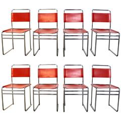 Set of Eight Bauhaus Style Red Leather and Chrome Dining Chairs