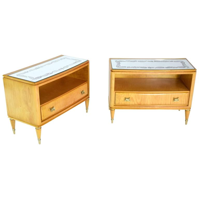 Pair of Italian Mid-Century Nightstands, 1950's