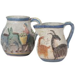 Two Hand-Painted Ceramic Pitchers by Guido Gambone