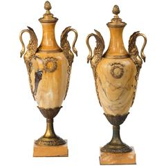 Pair of Marble and Ormolu Vases from the 19th Century