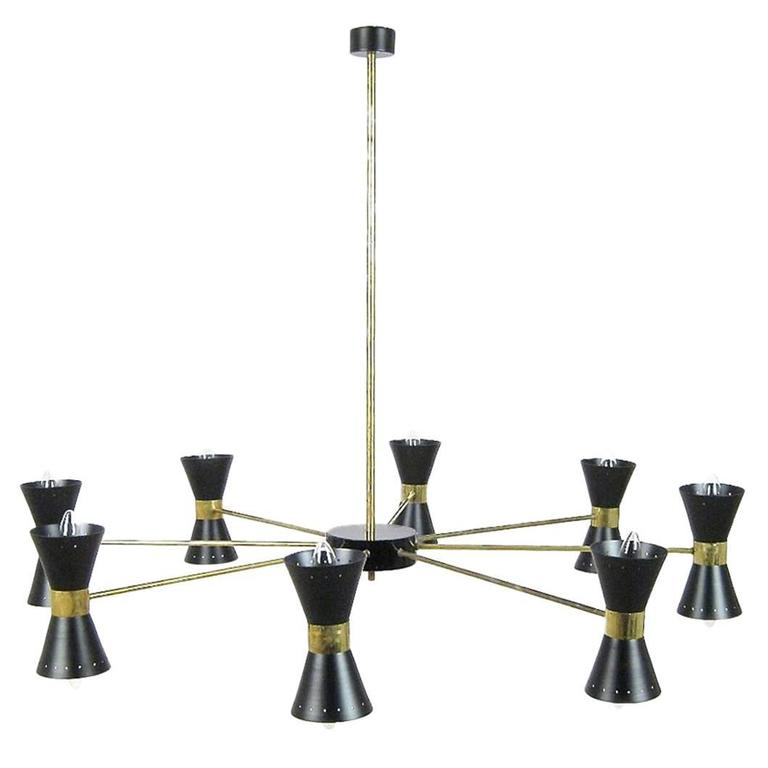 Brass Ceiling Lamp with Sixteen Black Light Scones in the Style of Stilnovo
