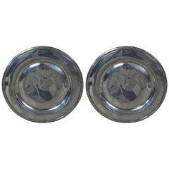 Pair of Large Antique Polished Pewter Chargers or Trays, English, 18th Century