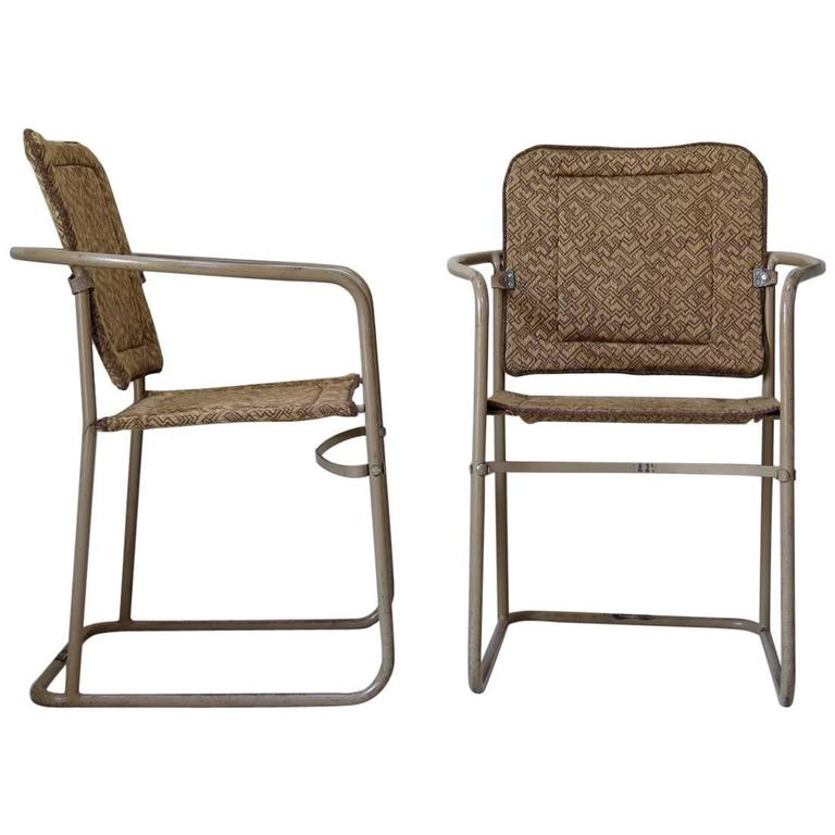 Pair of Tubular Metal Chairs, France, circa 1950s