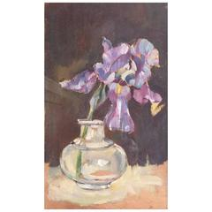 "Gérard Albouy ""Ouy"" Small Painting of Irises"