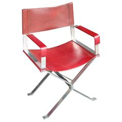 1970s Steel and Red Leather Armchair or Desk Chair
