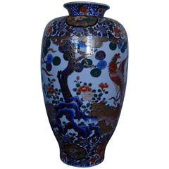 Huge Imari Vase with Email Painted with Birds and Kiku Flowers