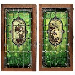Pair of French Provincial Stained Glass Windows,  France 1910
