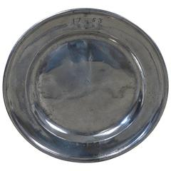 Large Antique Polished Pewter Charger or Tray, English, Dated 1753