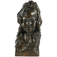 Magnificent Bronze by J. Ortis Representing the Buste of a Little Girl