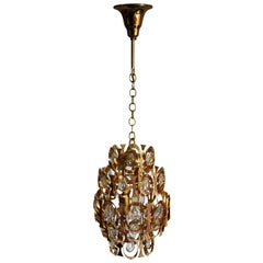 Gold Plated Mid-Century Cage Chandelier by Palwa, circa 1960s