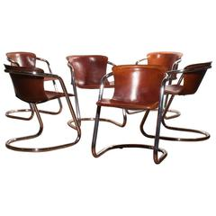 1970s, Beautiful Set of Six Italian Dining Chairs by Willy Rizzo for Cidue