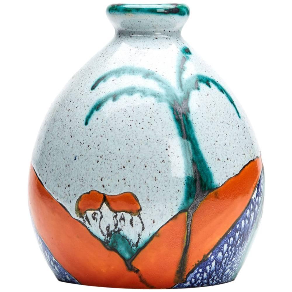 Art Deco Ceramique De Bruxelles Vase 20th Century