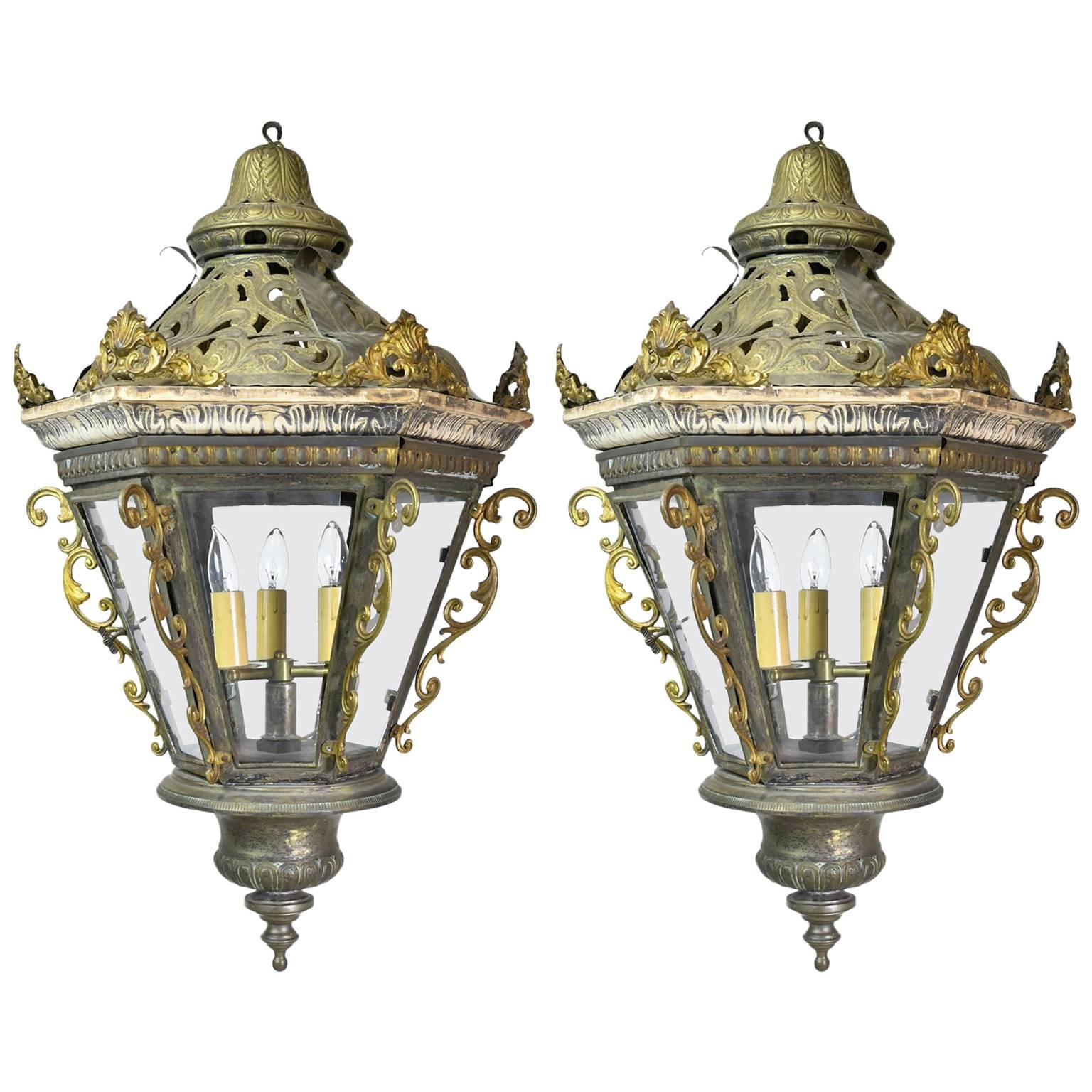Pair of Late 19th Century Baroque-Style Venetian Gondola Lanterns