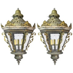 Pair of Late 19th Century Baroque-Style Venetian Gondola Lanterns