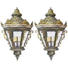 Pair of Late 19th Century Baroque Style Venetian Gondola Lanterns