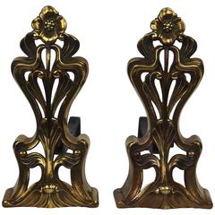 "Pair of ""Art Nouveau"" Andirons"
