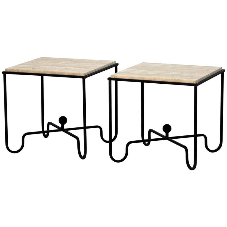 Pair of Wrought Iron and Travertine 'Entretoise' Side Tables by Design Frères For Sale