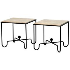Pair of Wrought Iron and Travertine 'Entretoise' Side Tables by Design Frères