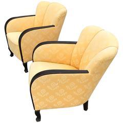 Swedish Art Deco Club Chairs Shell Shaped Back