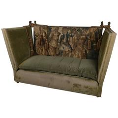Edwardian Green Velvet Knole Settee with 17th Century Tapestry Fragments