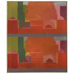 Stuart Egnal Modernist Abstract Expressionist Cityscape Painting