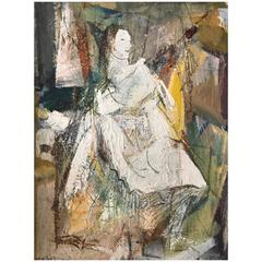 Rare Harry A. Mathes Abstract Expressionist Painting, circa 1940s