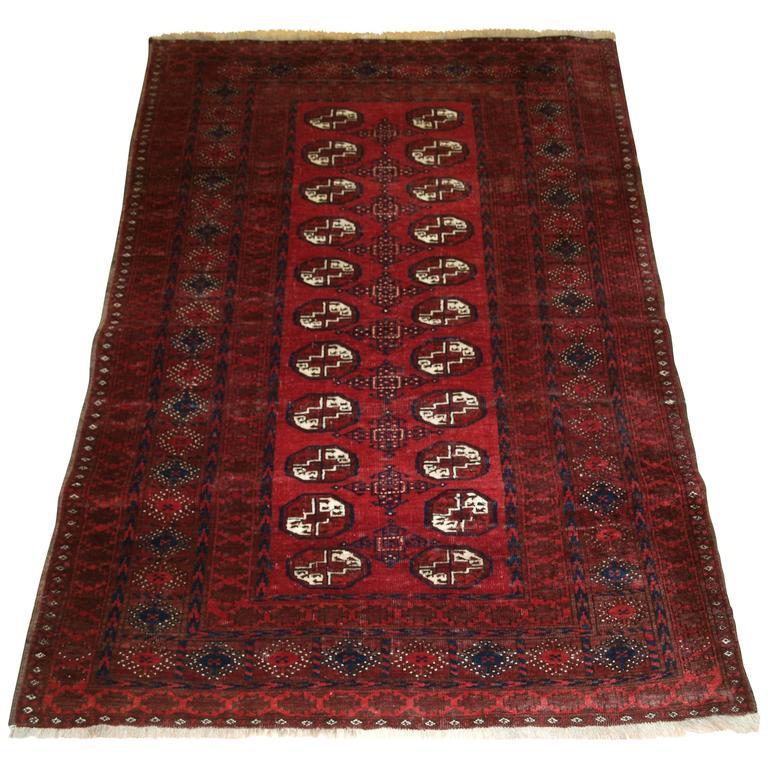 Old Afghan Village Rug Of Traditional Turkmen Design For