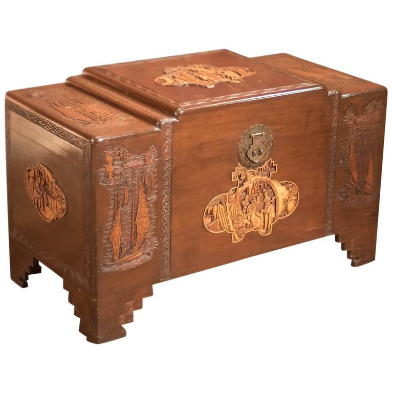 Antique Chest, Oriental Camphor Wood Trunk, 1930s For Sale