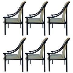 1970's Mastercraft Dining Chairs, Black and Brass, Set of Six