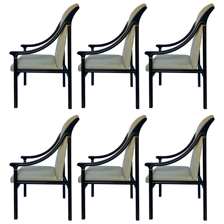 1970's Mastercraft Dining Chairs, Black and Brass, Set of Six For Sale