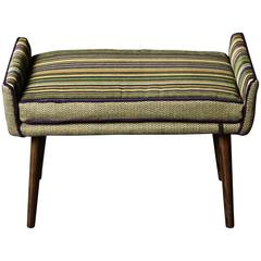 Backless Vanity-Sized Stool in Herringbone and Stripes (in stock)